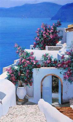 Beautiful World, Beautiful Gardens, Beautiful Flowers, Beautiful Places, Beautiful Pictures, Greece Painting, Greece Art, Santorini Greece, Greek Islands