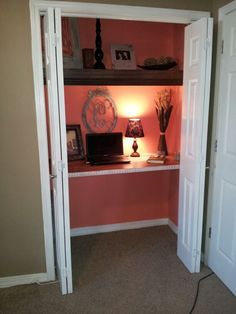Closet office: no door, pop of color, perhaps a battery-operated table lamp?