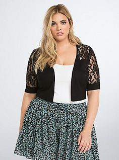 Plus Size Lace Inset Shrug, DEEP BLACK