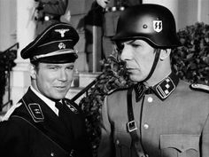 """William Shatner and Leonard Nimoy—two Jewish actors—as Waffen-SS men in the Star Trek episode """"Patterns of Force"""" (1968). Looking for a missing Federation cultural observer, Kirk and Spock find themselves on a planet whose culture imitates the German Nazi Party of old Earth."""