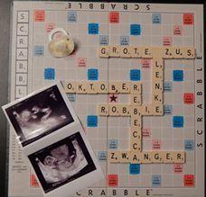 Leuke zwangerschapsaankonding van een Dreambaby-fan aangekondigd op wereld scrabble dag. #aankondiging #zwangerschap #baby