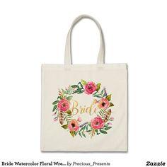 Bride Watercolor Floral Wreath4 Tote Bag