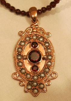 Antik- Anhänger - Rotgold/Silber (6081) mit Granat und Perlen