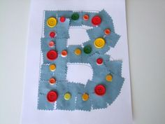 Letter B craft - buttons & blue paper