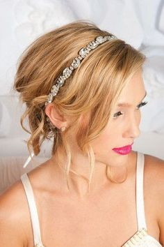 wedding headband styles from which to choose? We've selected five of our favorite wedding headband styles from designer Tessa Kim to shed some light on . Wedding Headband, Updo With Headband, Rhinestone Headband, Headband Styles, Bridal Hair, Rhinestone Dress, Crystal Headband, Rhinestone Wedding, Headbands