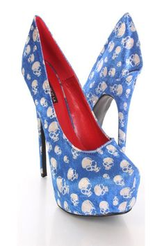 Take a walk on the wild side with these stylish skull heels! They will look super hot paired with your favorite skinnies or dress. Make sure you add these to your closet, it definitely is a must have! It features Soft velvet upper, closed toe, skull print throughout, stitched detailing, smooth lining, and cushioned footbed. Approximately 5 1/2 inch heel and 1 1/2 inch platform.