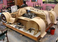 """This is the real deal! A full sized wooden car with a staggering top speed of 240mph and 700bhp!! Built by Joe Harmon Design and aptly named """"The Splinter""""!"""