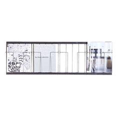 Porte-revue mural horizontal en métal vieilli noir 4 cases
