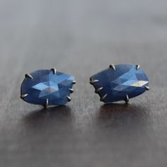 Hannah Blount Sapphire Vanity Studs. Small 8.21ct sapphire vanity stud earrings set in oxidized silver. Available at Meeka Fine Jewelry.