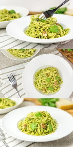 Super easy and delicious spaghetti with walnuts and basil pesto.