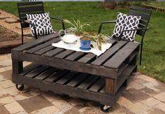 Mesa jardin doble palet acabado rustico de 120X100 cms con o sinruedas