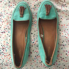 Aqua Loafers! Unique color, great for spring and summer. Can be worn casually, for work or just a day out! Good condition. A few signs of wear (please see photos)  Shoes Flats & Loafers