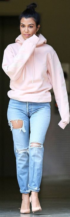 Kourtney Kardashian: Sweatshirt – Kith  Jeans – Moussy  Shoes – Gianvito Rossi