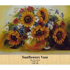 Sunflowers Vase Sunflower Vase, Tapestry Kits, Cross Stitch Kits, Wreaths, Fall, Diy, Painting, Sunflowers, Fabrics