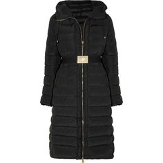 Moncler Imin belted quilted shell down coat ($1,110) ❤ liked on Polyvore featuring outerwear, coats, black, belted coat, insulated coat, down coat, quilted coat and elastic belt