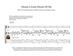 """Dream a Little Dream of Me"" (The Mamas & The Papass) a popular standard with more than 60 versions recorded. Here is an arrangement for classical Guitar Solo, early intermediate. Guitar Solo, Guitar Tabs, Great Guitar Songs, Piano Sheet Music Classical, Music Tabs, Fingerstyle Guitar, Little Prayer, Pop Hits, Guitar Scales"