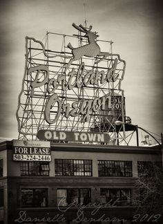 Fine Art Photo Print--Portland Oregon Old Town Sign in Sepia--Fine Art Black and White Photography 8x11