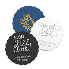"""$47 for 200. Personalized Paper Coasters - Scalloped - The Knot Shop. *item is sold in packages of 100. It's 3.5"""" (Dia.)and 36pt thick pulpboard"""