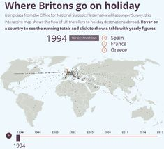 Using data from the Office for National Statistics, this animated map shows the flow of UK travellers to overseas destinations between Top Destinations, Holiday Destinations, United Nations Peacekeeping, Overseas Travel, Finance Blog, Interactive Map, Place Names, Going On Holiday, Travel And Tourism