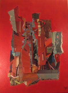"""""""Décalage"""" : Acrylique et collage sur toile de 80x60cm ."""