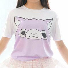 Upgrade! S/M/L [Tokyo Dollie Design] Pastel Purple Alpaca T-shirt Top SP140931 - SpreePicky  - 3 Kawaii Shirts, Kawaii Clothes, Kawaii Alpaca, Pastel Purple, Pastel Goth, Soft Colors, Tokyo, Graphic Sweatshirt, Street Style