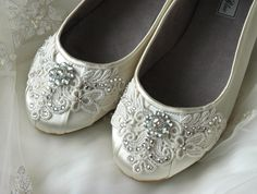 Wedding Shoes - Ballet Flats, Vintage Lace, Swarovski Crystals, Belle-Women's Bridal Shoes. $130.00, via Etsy.