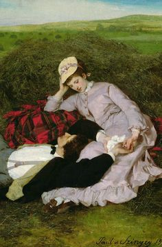 The Lovers, 1870 (oil on canvas) by Pal Szinyei Merse Hut Romantic Paintings, Art Ancien, Romance Art, Art Of Love, Victorian Art, Classical Art, Couple Art, Lovers Art, Painting & Drawing