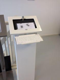 Tabletsolution introducing a tablet kiosk with bluetooth keyboard bracket. Kiosk is available gor ipad and other tablets.