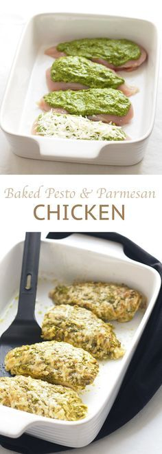 Delicious and healthy baked pesto parmesan chicken, a family favourite recipe!