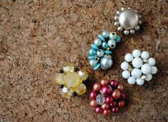 Pushpins made from vintage earrings!