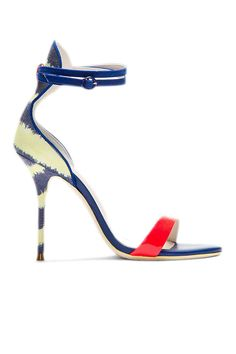 Sophia Webster Blue Leather and Canvas Striped Nicole Heels, $480;