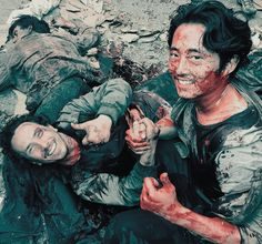 """Michael Traynor and Steven Yeun Behind the scenes """"Thank You"""", The Walking Dead The Walking Dead Saison, Walking Dead Season 6, Walking Dead Tv Show, Fear The Walking Dead, Steven Yeun, The Avengers, Stuff And Thangs, Dead Man, Daryl Dixon"""