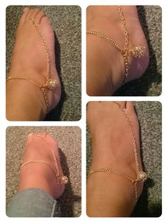 Slave anklet champagne gold plate with filligree golden ball within which are lots of tiny crystals so pretty!
