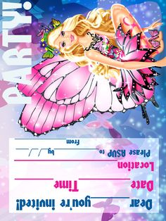 BARBIE COLORING PAGES Barbie Birthday Invitations Party Printable
