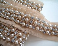 pearl trim | Beaded Pearl Trim, A Beautiful Wedd ing Veil or Dress trim, hair-band ...