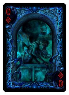 Bicycle R'lyeh Rising playing cards. Queen of Diamonds.