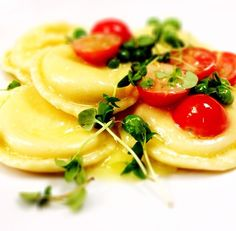 New for summer and restaurant week: Goat Cheese Ravioli with sauteed corn, cherry tomatoes, basil. #NYCRestaurantWeek