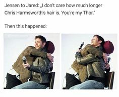 Jensen and Jared Thor and Captain America>>>> Its funny because Jensen could have been Captain America but made a commitment to do Supernatural Familia Winchester, Sam Winchester, Matt Cohen, Misha Collins, Supernatural Destiel, Supernatural Bloopers, Supernatural Tattoo, Supernatural Imagines, Supernatural Wallpaper