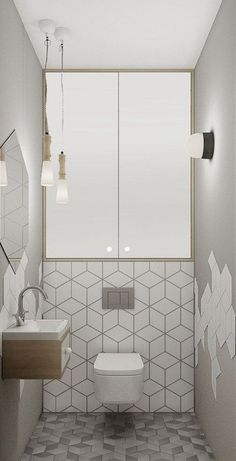 Space Saving Toilet Design for Small Bathroom - Home to Z - Bathroom Ideas Modern Bathroom Tile, Bathroom Design Luxury, Bathroom Tile Designs, Tiny House Bathroom, Bathroom Toilets, Modern Bathroom Design, Bathroom Interior, Bathroom Ideas, Bathroom Small