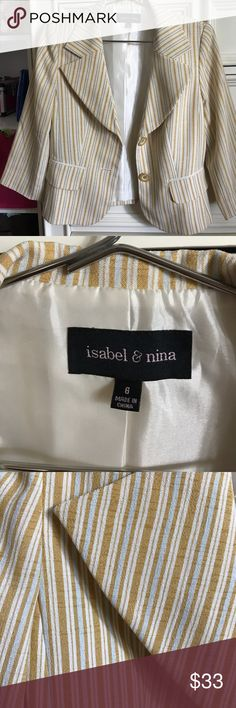 Yellow, Blue, & White Striped Blazer yellow, blue and white striped Blazer by Isabel&Nina. Padded shoulders. Size 6. No tears, no damage!!! Perfect Condition!!! Jackets & Coats Blazers