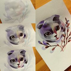 #kitty #pussywillow #watercolor  #meow #sashaunisex