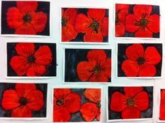Grade Three Remembrance Day Poppies Black glue and watercolour