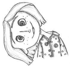 Coraline Jones Framed Art Print by Pistachio - Vector Black - Art Drawings Sketches Simple, Pencil Art Drawings, Cartoon Drawings, Easy Drawings, Drawings For Girls, Coraline Drawing, Coraline Tattoo, Desenhos Tim Burton, Desenhos Halloween