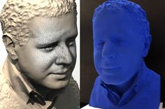 Realization of a 3D printed bust from a 3D scan. Shapelize 3D scanned the man and 3D printed using mineral powder. Finishing using lac and blue klein color