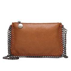 1ad92d1f353ff Angleliu Damen PU lässigen Kette Handtasche Modisch Schultertaschen Glitzer  Beuteltasche (Kleine braune Tasche