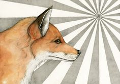A handsome red fox standing in the sunlight. This is a print of my original mixed media artwork that was created with watercolour paints, ink