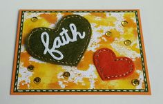 Faith, Die-namics Stitchable Hearts Stax, Pailletten, Acrylblock Technik, Paper Smooches