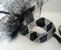 Black Mask Harlequin black silver uk by MasksbyDebbsElliman, #masquerademask #mask #harlequin #Halloween #cobwebs #spider #partymask #costume #fancydress #venetianmask #cocktailmask #uk #hobby #masks #masquerade #classy #goth
