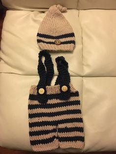 Tienda Online Bebé recién nacido accesorios de fotografía infantil de punto de ganchillo traje azul a rayas trajes suave botón elf beanie + pantalones bebé regalo de la ducha | Aliexpress móvil