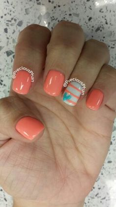 Coral stripe heart nails
